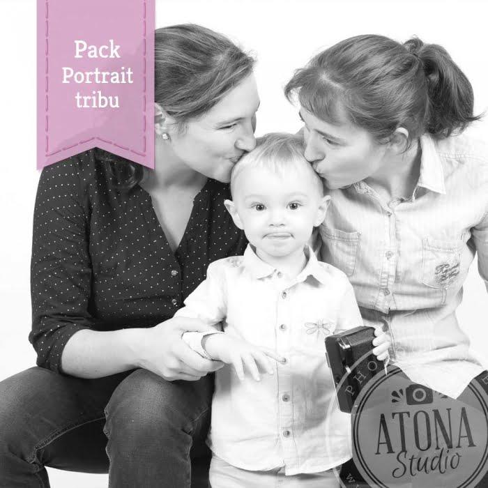 Pack atona studio portrait tribu 3 personnes